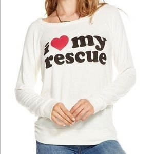 CHASER Medium I Love My Rescue Drape Back Sweater